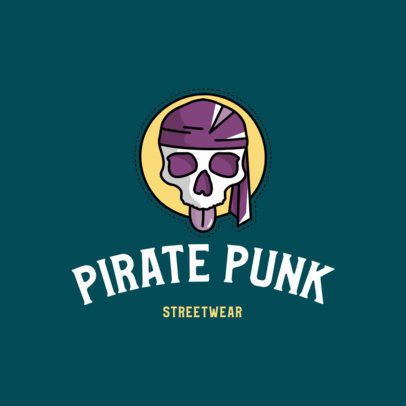 Punk Clothes Brand Logo Maker with a Pirate Icon 752a-el1