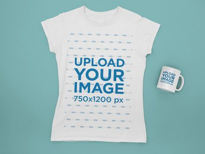 Mockup Featuring a T-Shirt and an 11 oz Coffee Mug Placed on a Plain Color Surface 31882