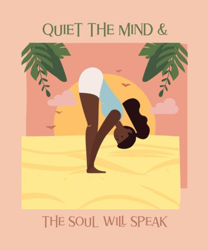 T-Shirt Design Maker Featuring a Woman Stretching in a Yoga Pose 2229f
