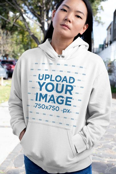 Pullover Hoodie Mockup Featuring a Serious Woman Looking at the Camera 32065
