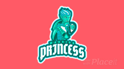 Animated Gaming Logo Template Featuring a Warrior Princess Clipart 2619w-2933