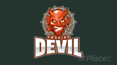 Animated Gaming Logo Template with a Graphic of a Devil Smoking  1877o-2932