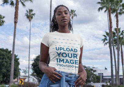 T-Shirt Mockup of a Strong Woman Wearing Denim 32055