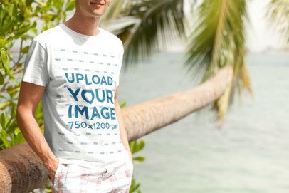 T-Shirt Mockup of a Young Man Posing by the Beach 2752-el1