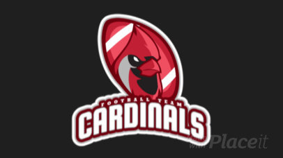 Animated Football Logo Maker Featuring a Cardinal Mascot 1616p-2927