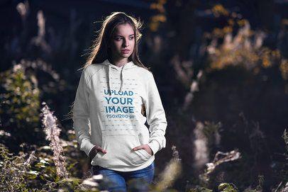 Hoodie Mockup of a Peaceful Woman Posing in Nature 2793-el1