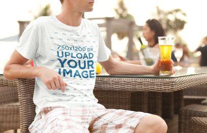 Crewneck T-Shirt Mockup of a Man Drinking a Beer 2755-el1