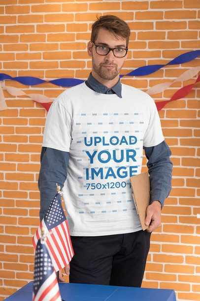 T-Shirt Mockup Featuring a Man Holding a Clipboard at a Polling Station 31915