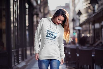 Pullover Hoodie Mockup Featuring a Woman in The Street 2786-el1