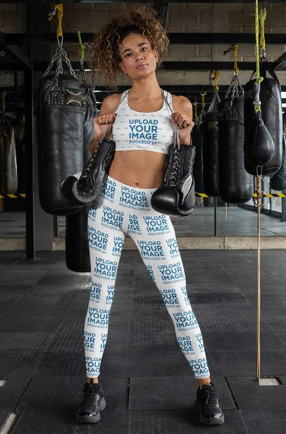 Sports Bra Mockup Featuring a Woman Wearing Leggings at a Boxing Gym 31361
