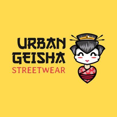 Streetwear Logo Maker Featuring a Geisha Clipart 252f-el1
