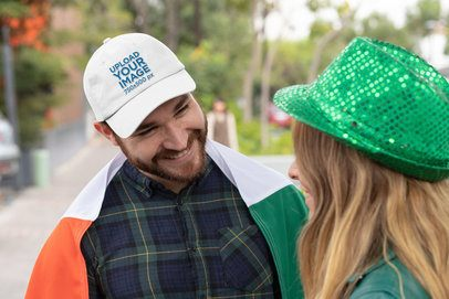 Dad Hat Mockup Featuring a Young Man Celebrating Saint Patrick's Day 32128