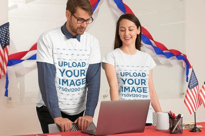 T-Shirt Mockup Featuring a Man and a Woman in a Political Polling Station 31917