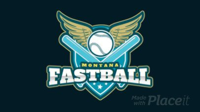 Sports Logo Featuring an Animated Winged Baseball Ball 172ww-2936