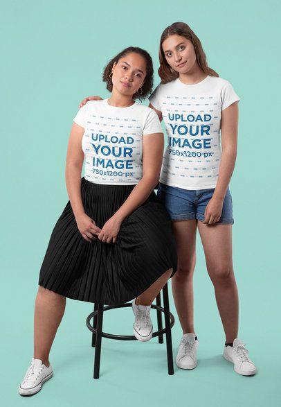 T-Shirt Mockup of Two Female Friends Hugging at a Studio 31986