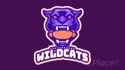 Animated Sports Logo Maker Featuring a Wildcat with a Football Ball in its Mouth a245xx-2936
