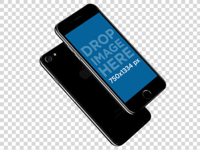 iPhone 7 Mockup of a Jet Black iPhone in an Angled Position 12096