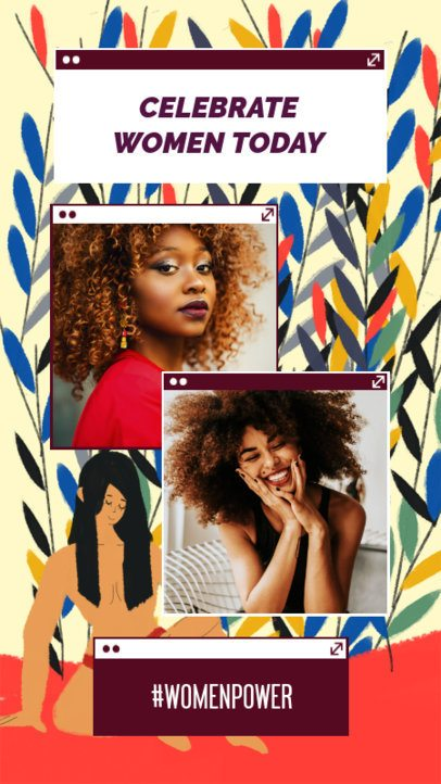 Instagram Story Generator for Women's Day with Colorful Plant Graphics 2261j