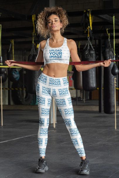 Sports Bra and Leggings Mockup of a Tough-Looking Woman at a Boxing Gym 31363