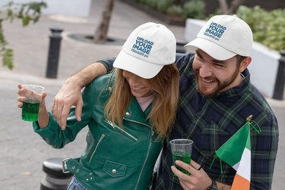 Dad Hat Mockup Featuring a Couple Celebrating St Patricks Day 32126