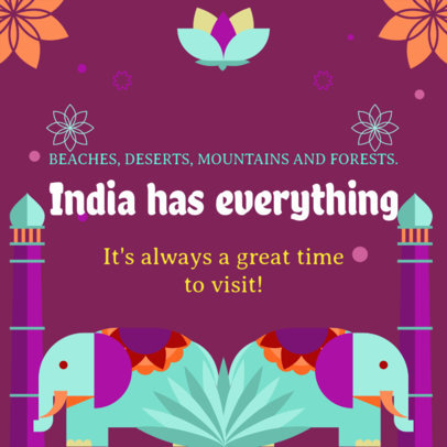 Illustrated Instagram Post Maker Featuring the Wonders of India 2238a