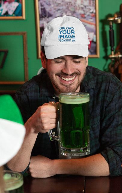 Dad Hat Mockup Featuring a Man Drinking Green Beer 32141