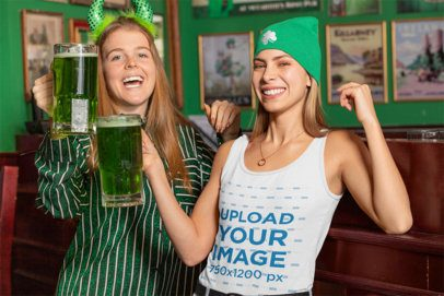 Tank Top Mockup Featuring Two Joyful Women Celebrating St Patricks Day 32148