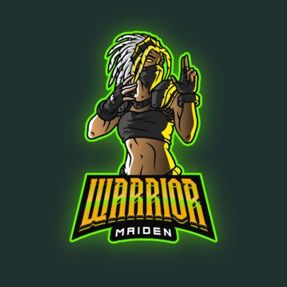 Gaming Logo Template with a Female Masked Warrior 2915f