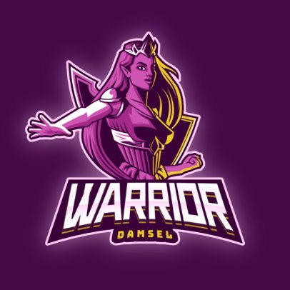 Gaming Logo Maker Featuring a Female Warrior Clipart 2915c
