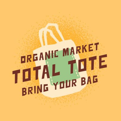 Logo Maker for an Organic Market with a Reusable Bag Illustration 2924f