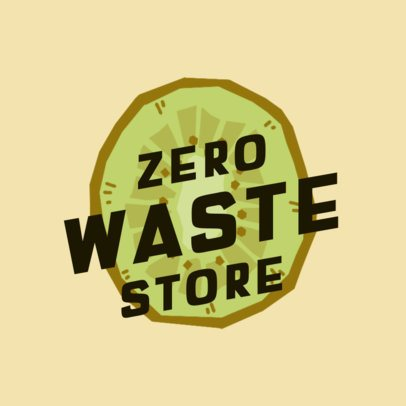 Illustrated Logo Template for a Zero-Waste Store 2924g