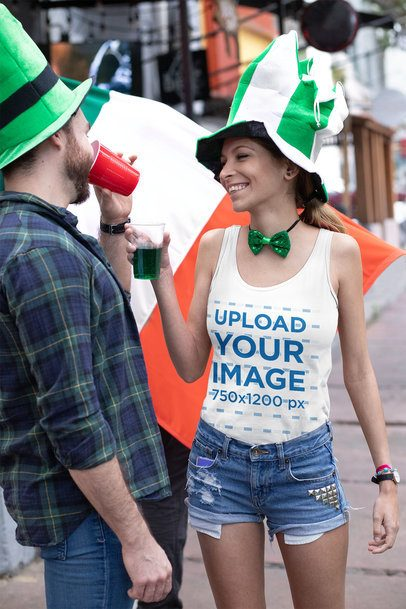 Mockup of a Woman Wearing a Tank Top and Having fun on Saint Patrick's Day 32123