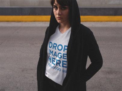 V Neck Tee Mockup of a Street Style Girl Posing 12083