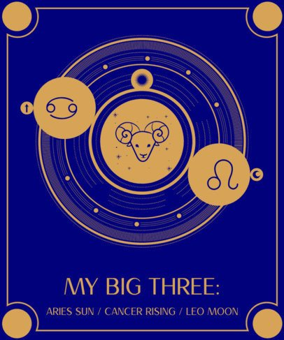 T-Shirt Design Template Featuring Astrology Graphics 2274