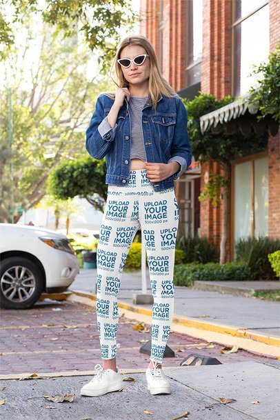 Mockup of a Stylish Woman with Sunglasses Wearing Sublimated Leggings 31492
