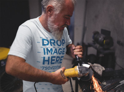 Round Neck Tee Mockup of an Older Man Hard at Work a12062