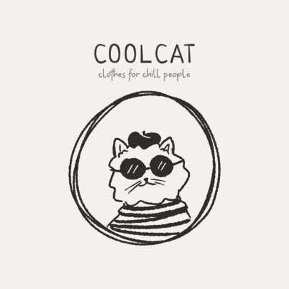 Illustrated Kid's Clothing Logo Creator Featuring a Classy Cat  2950b