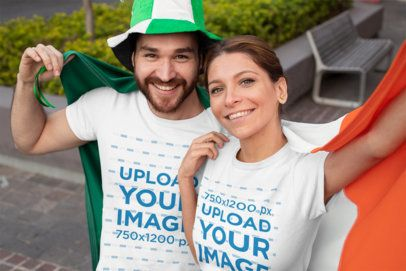 T-Shirt Mockup Featuring a Couple Holding an Irish Flag 32121
