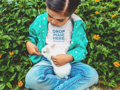 Children's T-Shirt Mockup of a Little Girl and a Bunny a12106