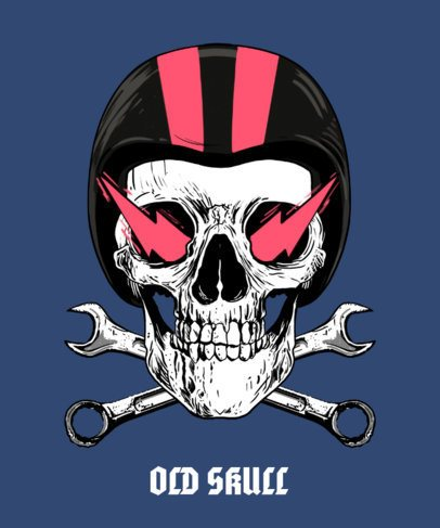 T-Shirt Design Maker Featuring a Skull with a Motorcycle Helmet 2286a