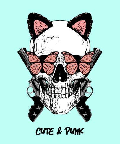 T-Shirt Design Maker Featuring a Skull with Butterflies 2286d