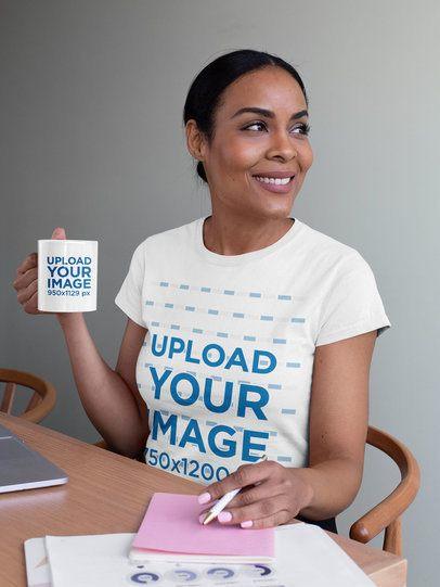 Mockup Featuring a Middle-Aged Woman Wearing a T-Shirt and Holding an 11 oz Mug 31699