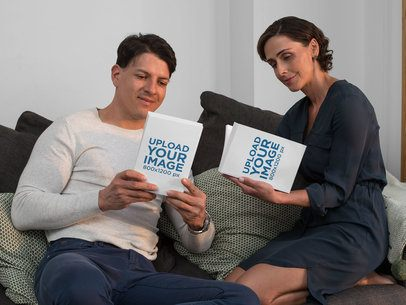 Book Mockup Featuring a Middle-Aged Couple Reading at Home 31702