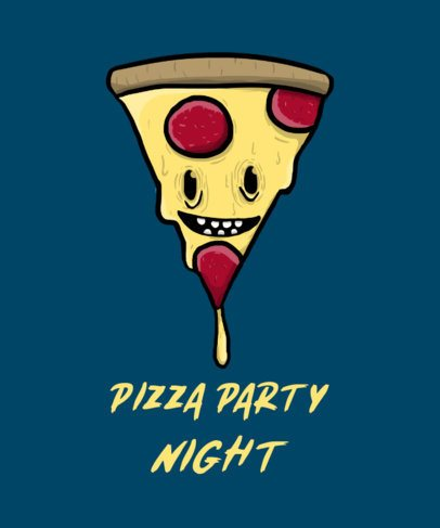 T-Shirt Design Maker Featuring a Cartoonish Pizza Face Graphic 2278C