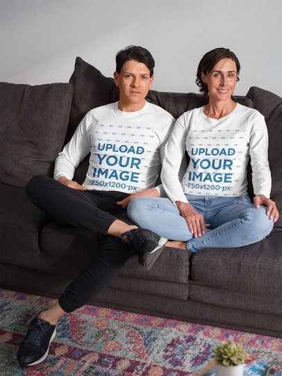 Long Sleeve Tee Mockup of a Middle-Aged Couple Chilling on Their Sofa 31687