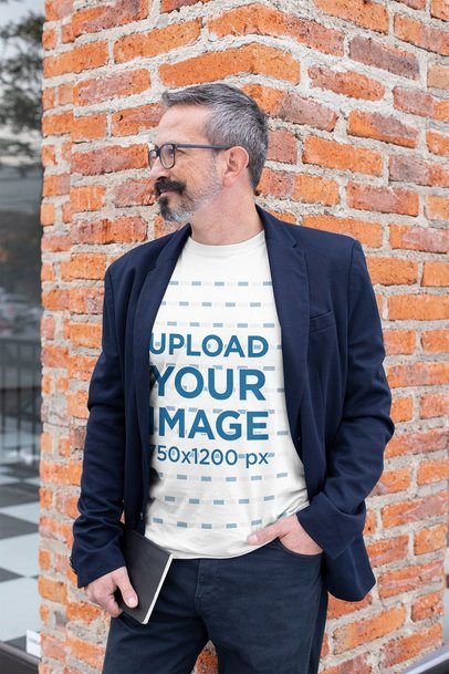 T-Shirt Mockup Featuring a Middle-Aged Man Wearing a Blazer 31713