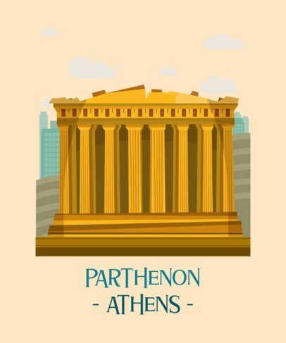 Travel T-Shirt Design Maker Featuring the Athens Parthenon 2285b