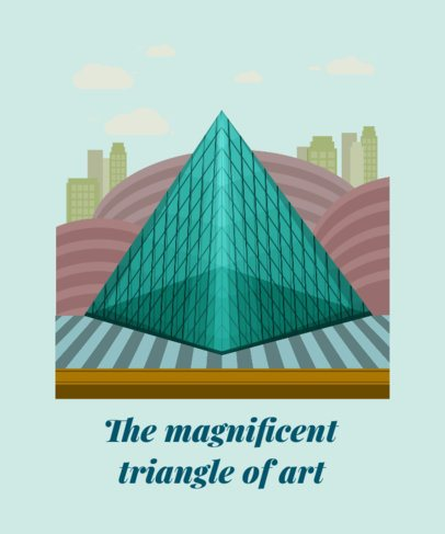 Travel T-Shirt Design Template with the Louvre Pyramid 2285e