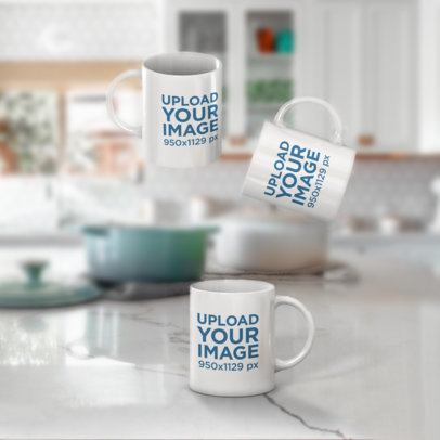 Mockup Featuring Three 11 oz Coffee Mugs Floating against a Blurry Background 2901-el1