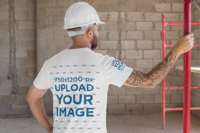 T-Shirt Mockup Featuring the Back View of a Construction Worker 31533